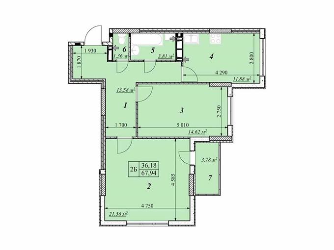 ЖК Звездная башня в Вышгороде планировка двухкомнатной квартиры