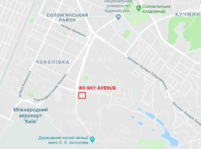 ЖК Скай Авеню от Укрбуда на карте