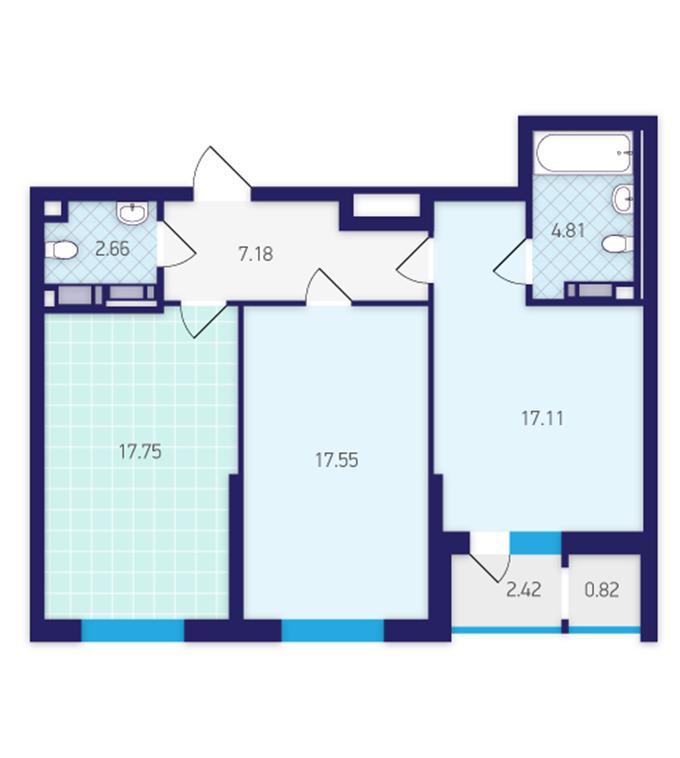 ЖК Скай Авеню от Укрбуда планировка двухкомнатной квартиры