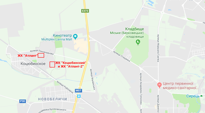 ЖК Атлант 2 в Коцюбинском на карте