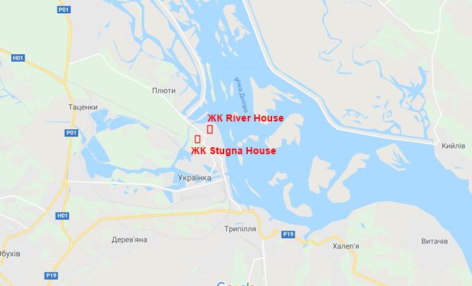 ЖК Ривер Хаус в Украинке на карте