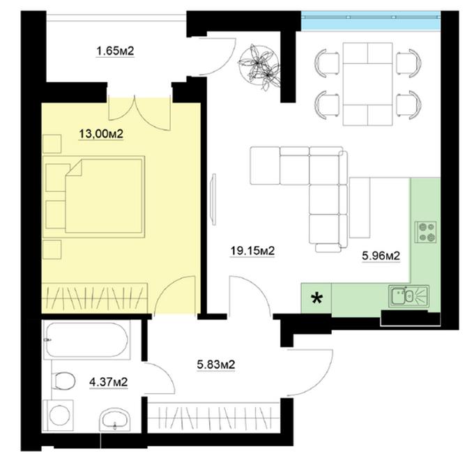ЖК Шелтер планировка однокомнатной квартиры