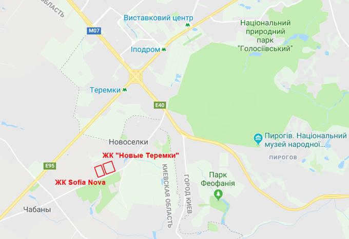 ЖК София Нова Новоселках на карте