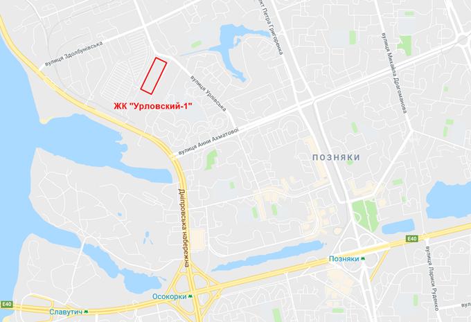 ЖК Урловский 1 от КГС на карте