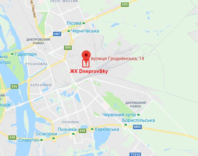 Проекты новостроек эконом класса ЖК Днепровский на карте