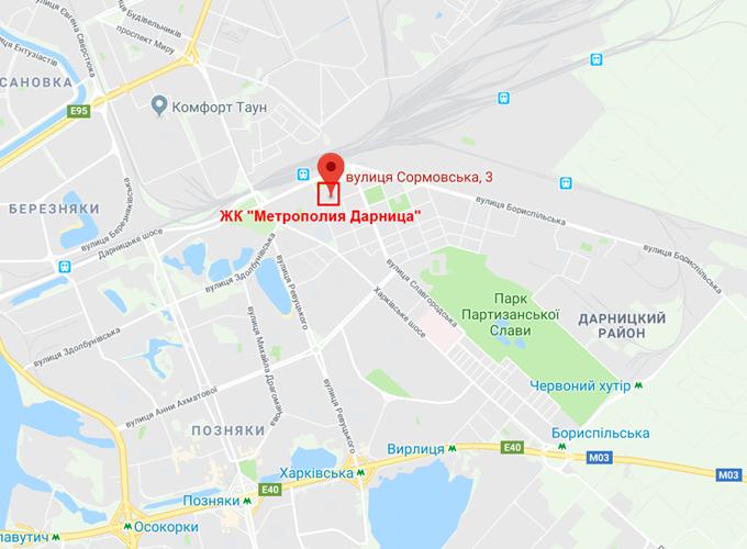 Проекты новостроек эконом класса ЖК Метрополия Дарница на карте
