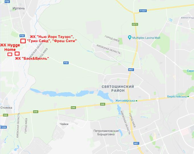 ЖК Хьюгге Хоум в Ирпене на карте