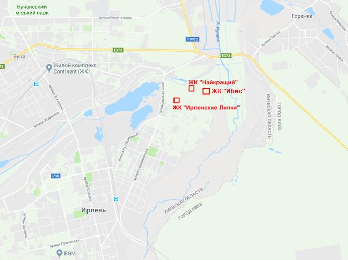 ЖК Ибис в Ирпене на карте