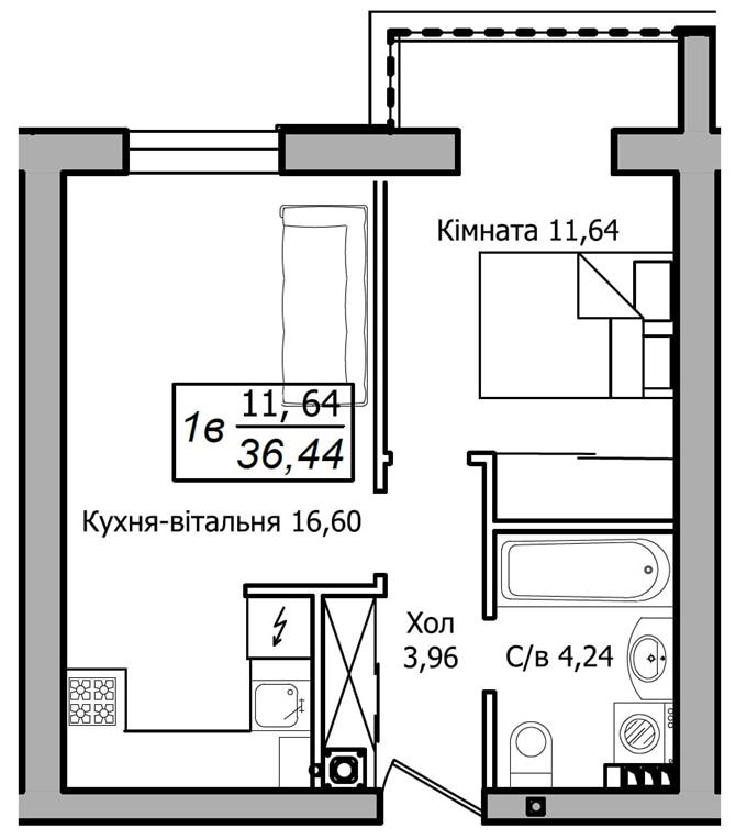 ЖК Club House 1-комнатная планировка