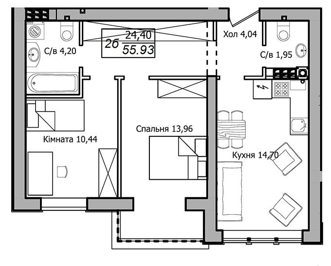 ЖК Club House 2-комнатная планировка