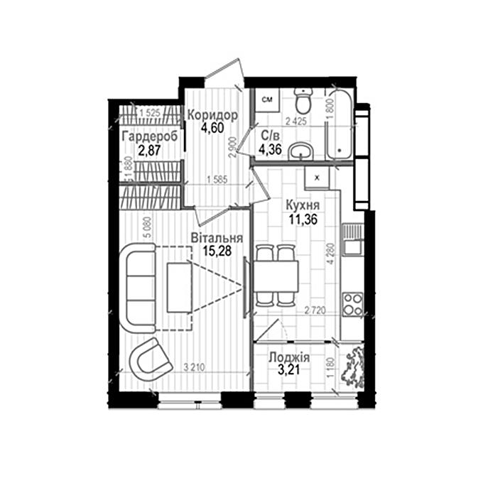 ЖК Науки 58 1-комнатная планировка