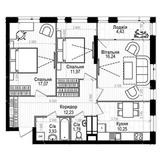 ЖК Науки 58 3-комнатная планировка