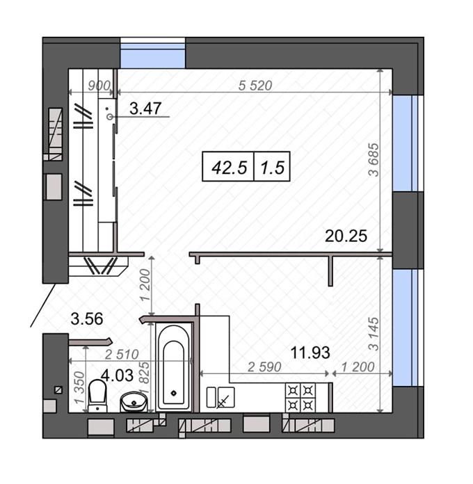 ЖК Новые Метры Park 1-комнатная планировка