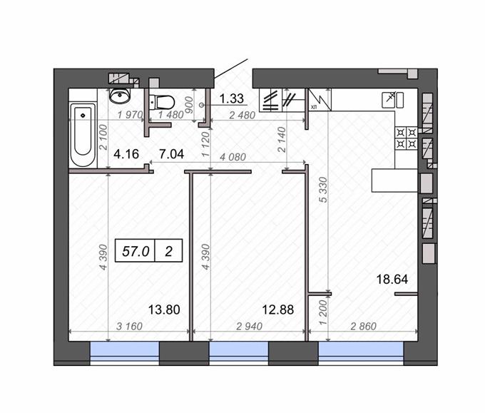 ЖК Новые Метры Park 2-комнатная планировка
