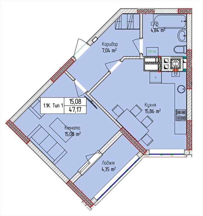 ЖК Пионерский квартал планировка однокомнатной квартиры