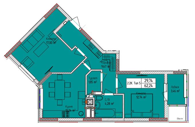ЖК Пионерский квартал планировка двухкомнатной квартиры