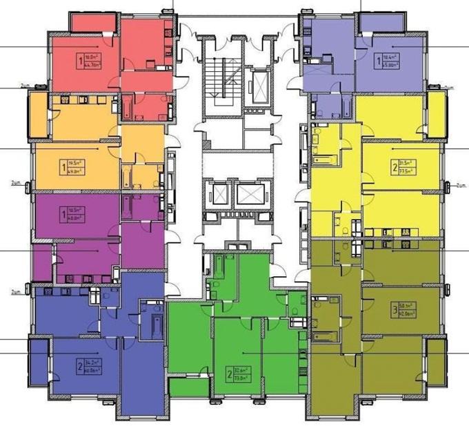 ЖК Лебединый поэтажный план дома 1
