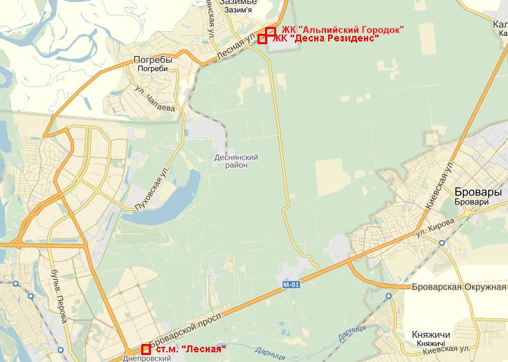 ЖК Десна Резиденс Альпийский городок в Зазимье на карте