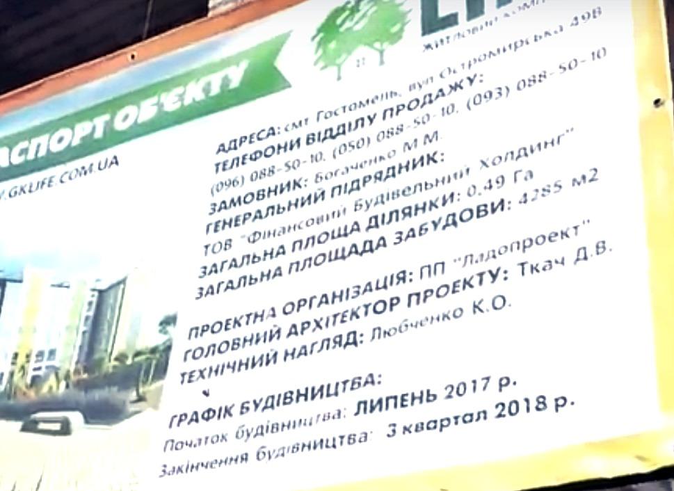 ЖК Лайф в Гостомеле паспорт стройки