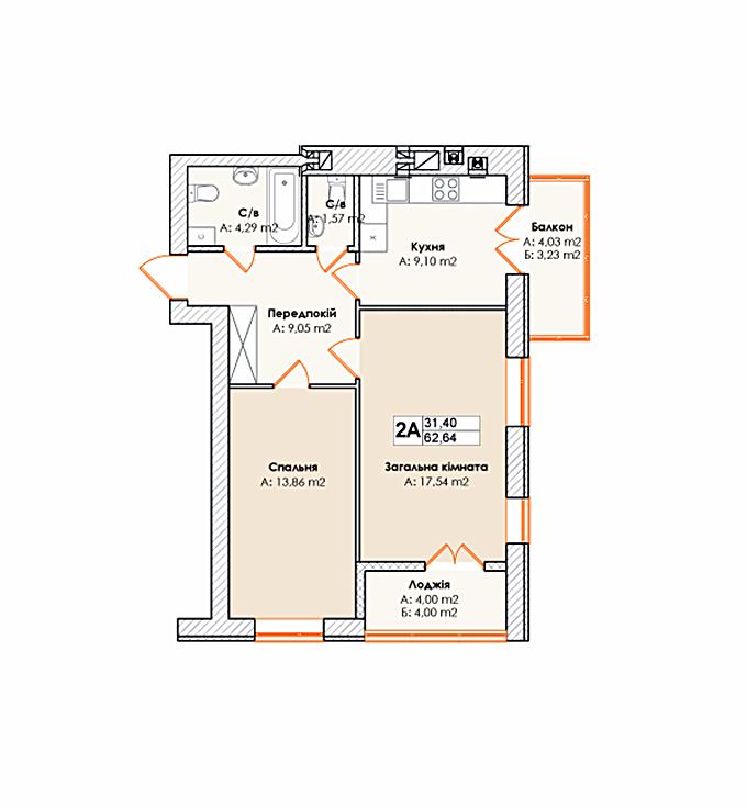 ЖК Лайф в Гостомеле планировка двухкомнатной квартиры