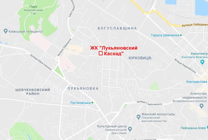 ЖК Лукьяновский каскад Интергал Буд на карте