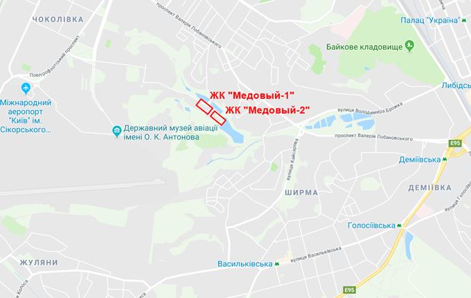 ЖК Медовый 2 от Киевгорстроя на карте