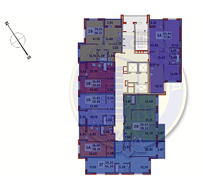 ЖК Медовый 2 от Киевгорстроя поэтажный план секции второго дома