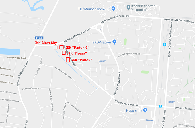 ЖК Район два на Троещине на карте