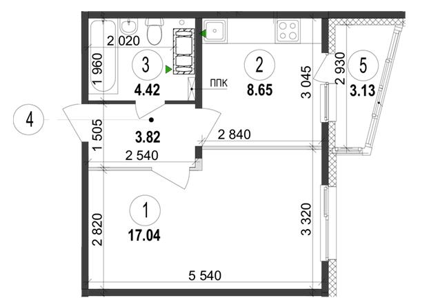 ЖК Велкам Хоум на Ревуцкого планировка однокомнатной квартиры