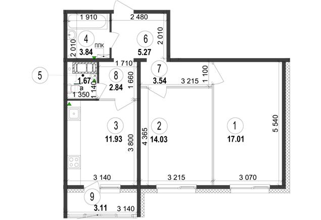 ЖК Велкам Хоум на Ревуцкого планировка двухкомнатной квартиры