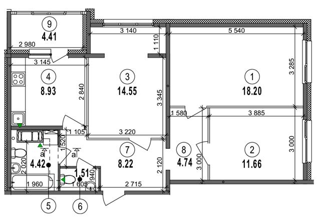 ЖК Велкам Хоум на Ревуцкого планировка трехкомнатной квартиры