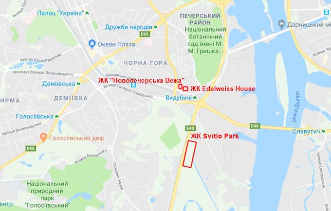 Самый загрязненный микрорайон Выдубичи ЖК Эдельвейс, Новопечерська Вежа и Свитло парк на карте
