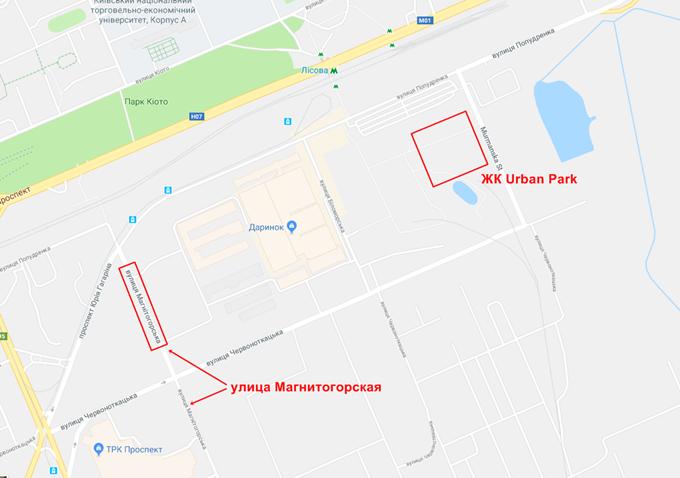 Самый загрязненный район Днепровский ЖК Урбан парк на карте