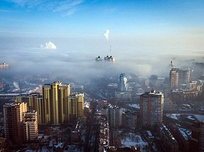 Самые загрязненные микрорайоны Киева смог над Киевом