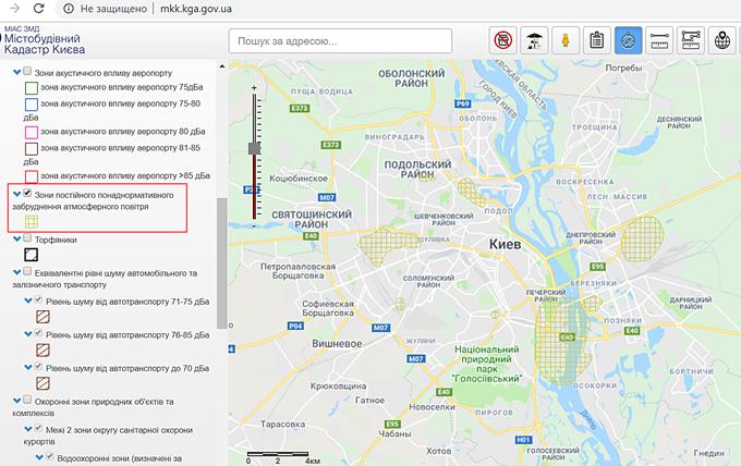 Самые загрязненные микрорайоны Киева карта