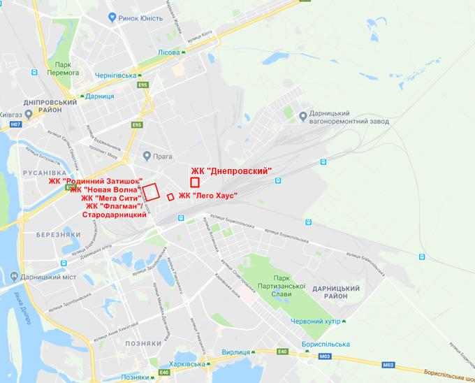 ЖК Днепровский на карте