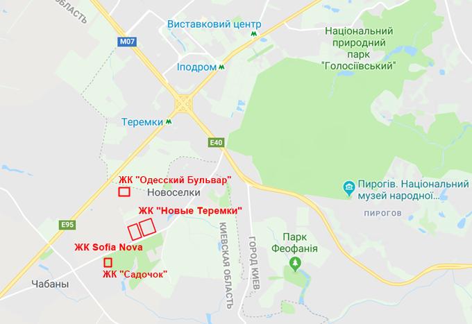 ЖК Садочок в Новоселках на карте