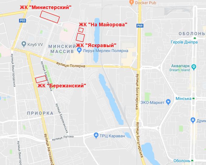 ЖК Бережанский от Галжитлобуд на карте