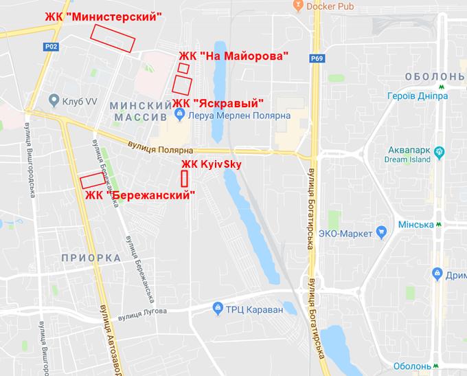 ЖК Киевскай на карте