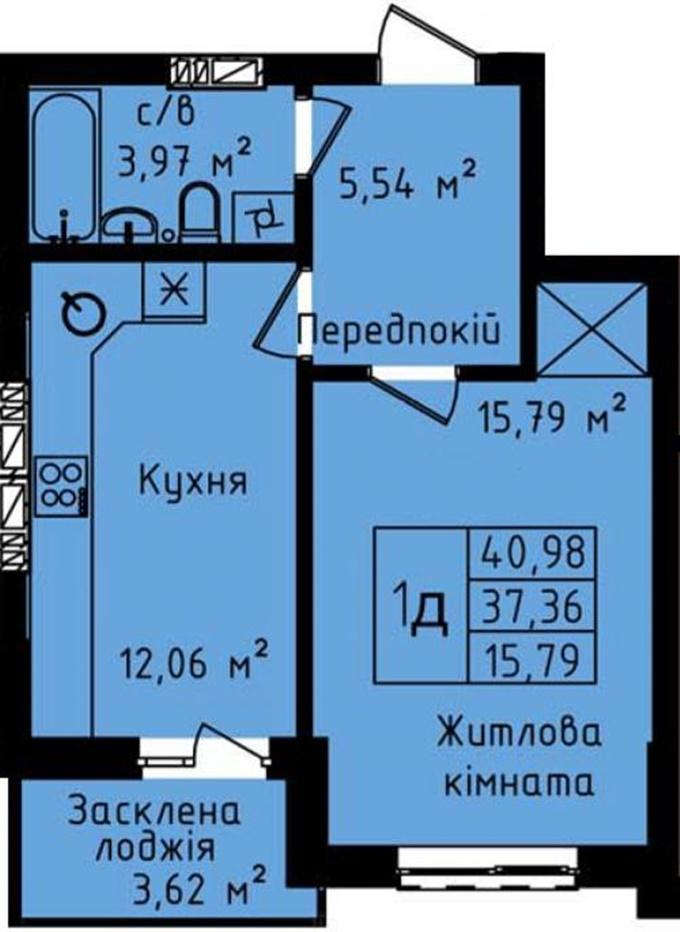 ЖК Днепровский планировка однокомнатной квартиры