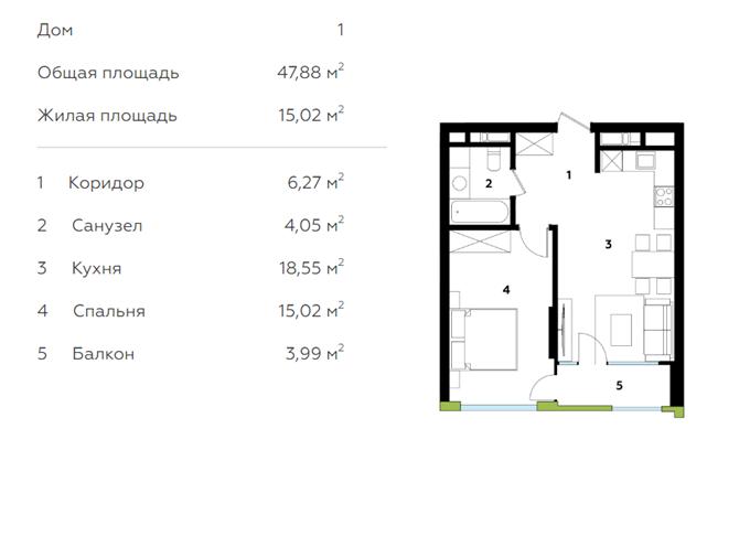 ЖК Мэдисон Гарденс в Броварах планировка однокомнатной квартиры