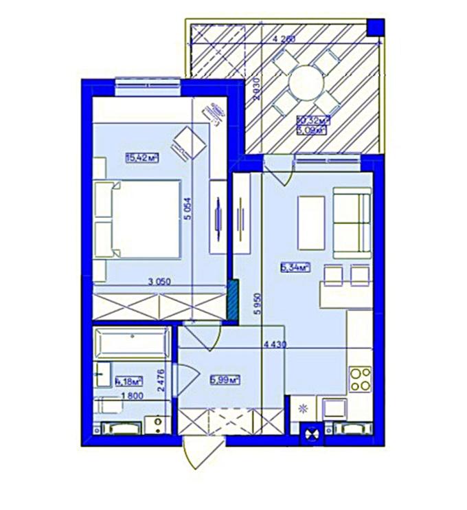 ЖК Utlandia в Ирпене планировка однокомнатной квартиры