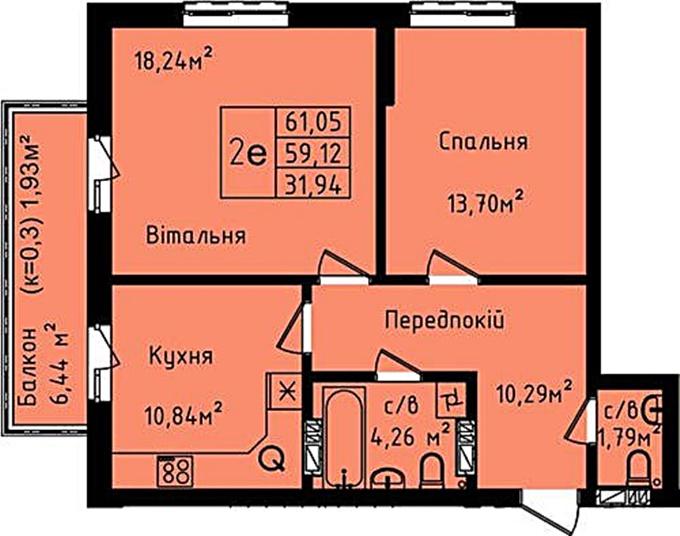 ЖК Днепровский планировка двухкомнатной квартиры