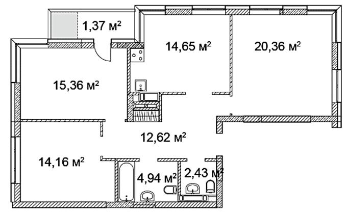 ЖК Квартал Аллей вариант планировки трехкомнатной квартиры