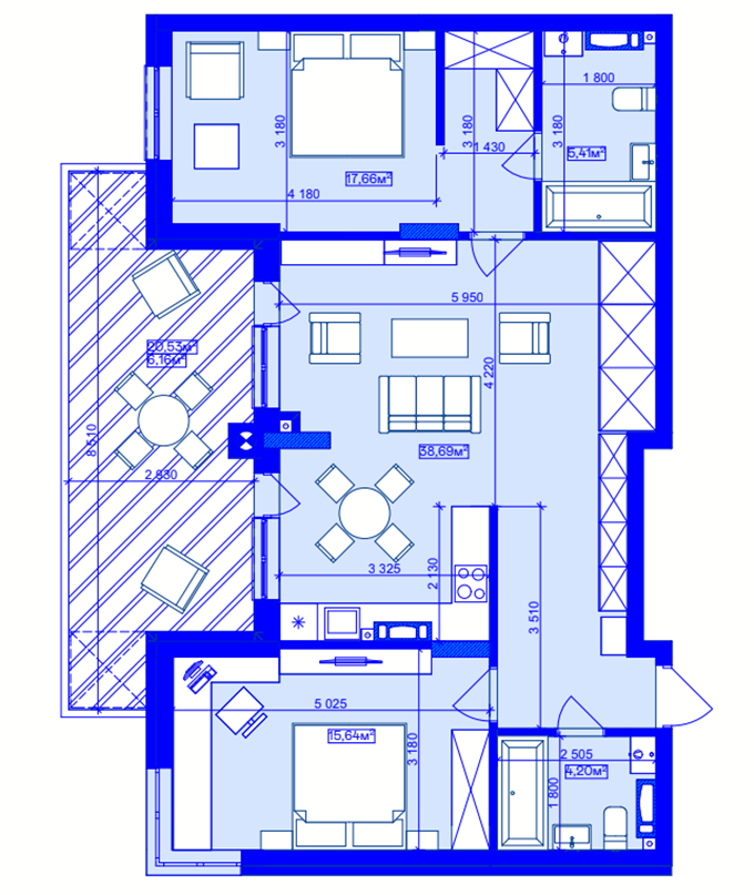 ЖК Utlandia в Ирпене планировка трехкомнатной квартиры