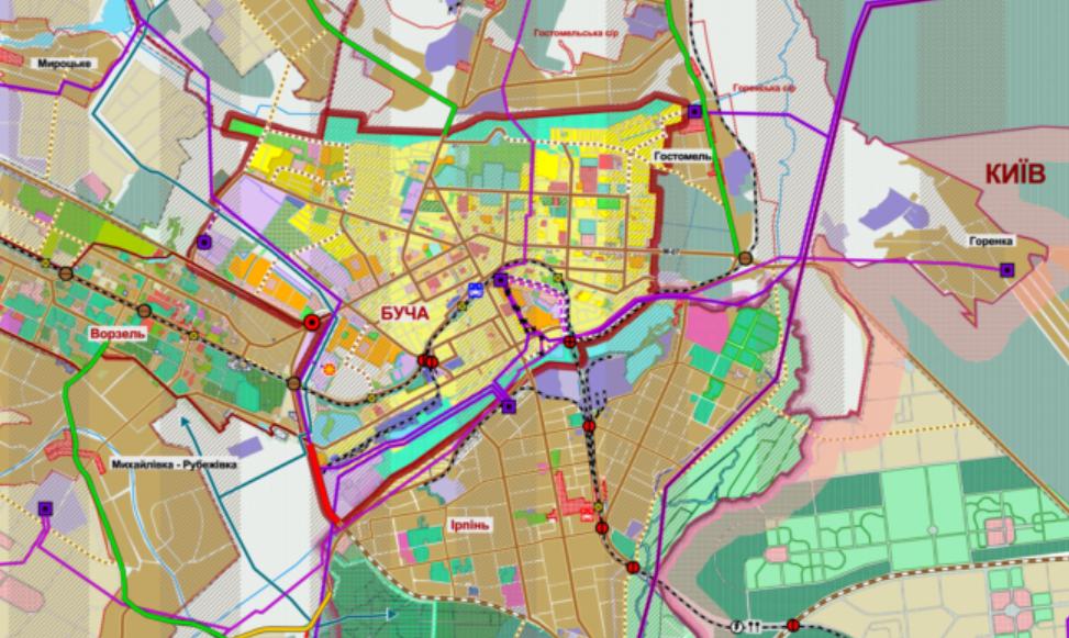 Детальный план территории Бучи на карте