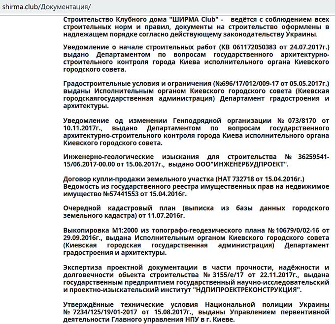 ЖК Ширма Клаб в Киеве документы