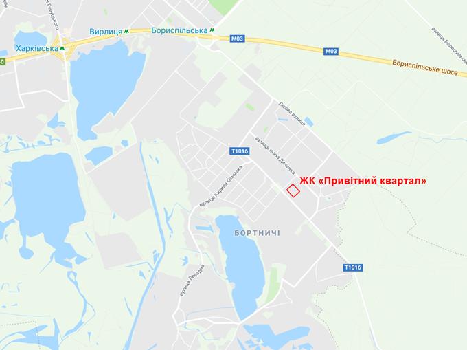 ЖК Привітний квартал Велкам Хоум в Бортничах на карте