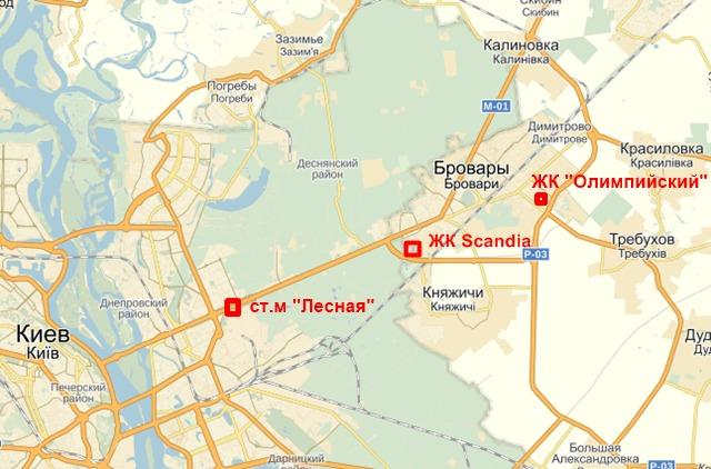 ЖК Скандия в Броварах на карте