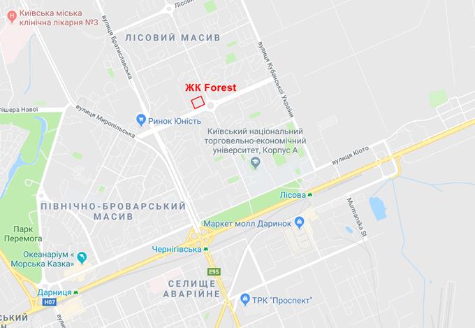 ЖК Форест на Лесной на карте